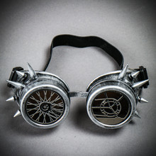 Steampunk Spikes Goggles With Wheel Lens - Metallic Silver