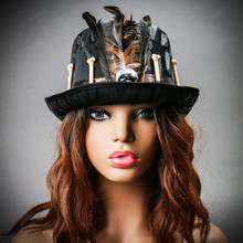 Halloween Low Top Hat with Skull and Feather - Black (with female model)