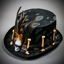 Halloween Low Top Hat with Skull and Feather - Black