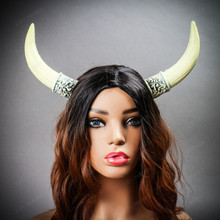 Bull Horns Headband - Bone White (with female model)