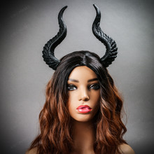 Fairy Horns Magnificent Headband - Black (with Female Model)