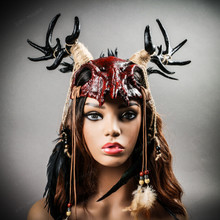 Antelope Devil Deer Horn Skull Ghost Masquerade Mask - Bloody Red (wear as headgear)