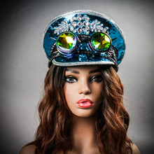 Steampunk Burning Man Captain Hat with Kaleidoscope 3D Goggles -  Royal Blue (with female model)
