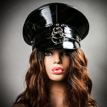 Military Police Captain Cap Hat - Black (with female model)