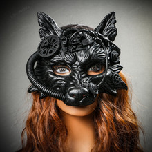 Wild Wolf Animal Steampunk Full Face Masquerade Mask - Black (With female model)