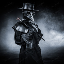 Plague Doctor Full Costume Robe Mask Hat Set - Black Silver
