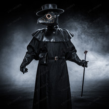 Plague Doctor with Large Bird Mask & Flat Hat Full Costume Set - Black