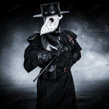 Plague Doctor with Large Bird Mask & Flat Hat Full Costume Set - White