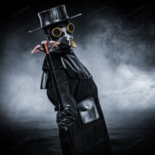 Plague Doctor with Bird Beak Mask & Flat Hat Full Costume Set - Black Gold