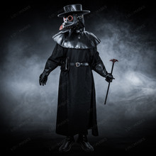 Plague Doctor with Bird Beak Mask & Flat Hat Full Costume Set - Black Copper