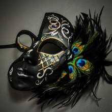 Exquisite Venetian Glitter Mask with Peacock Feather - Black Silver