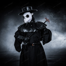 Plague Doctor with Bird Beak Mask & Flat Hat Full Costume Set - White Silver