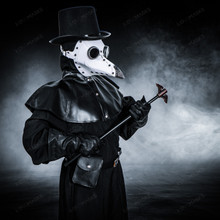 Plague Doctor with Bird Beak Mask & Top Hat Full Costume Set - White Silver