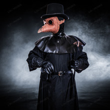 Plague Doctor with Bird Beak Mask & Top Hat Full Costume Set - Brown