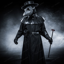 Plague Doctor with Bird Beak Mask & Flat Hat Full Costume Set - Grey Silver