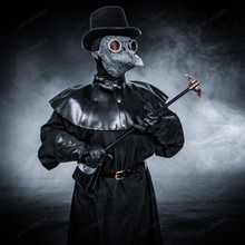 Plague Doctor with Bird Beak Mask & Top Hat Full Costume Set - Grey Silver