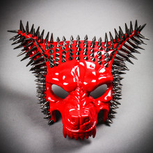 Angry Wolf Steampunk Spike Masquerade Mask - Glossy Red