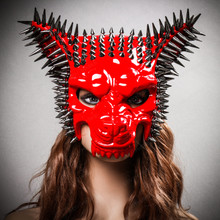 Angry Wolf Steampunk Spike Masquerade Mask - Red with Model