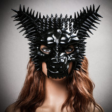 Angry Wolf Steampunk Spike Masquerade Mask - Black ( with model)