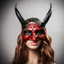 Goblin Devil Long Horn Eyes Mask - Blood Red (with Model)
