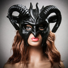 Demon Devil Satan with Black Horns Masquerade Mask - Black (with Model)