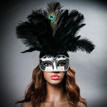 Venetian Glitter Crystal Mardi Gras Mask with Peacock Large Feather - Silver Black (with female model)