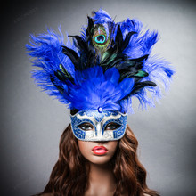 Venetian Glitter Crystal Mardi Gras Mask with Peacock Large Feather - Silver Blue (with female model)