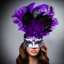 Venetian Glitter Crystal Mardi Gras Mask with Peacock Large Feather - Silver Purple (with female model)