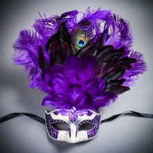 Venetian Glitter Crystal Mardi Gras Mask with Peacock Large Feather - Silver Purple