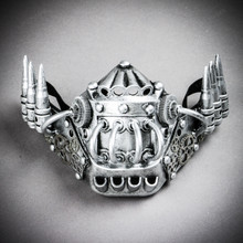 Steampunk Jaw Mask with Bullet - Silver