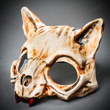 Vampire Cat Skull Masquerade Mask - Bone
