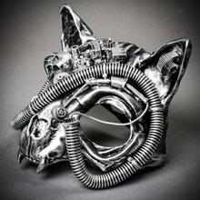 Vampire Cat Skull Steampunk Masquerade Mask - Black Silver