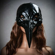 Black Raven Skull Bird Nose Masquerade Halloween Party Full Face Mask with model