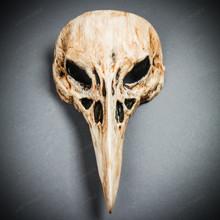 Raven Skull Bird Nose Masquerade Mask - Bone