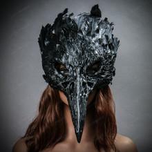 Raven Skull Bird Nose Feather Masquerade Mask - Black