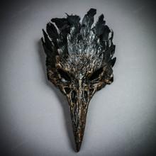 Raven Skull Bird Nose Feather Masquerade Mask - Brown