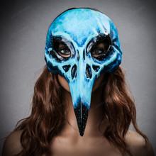 Raven Skull Bird Nose Alien Masquerade Mask Blue with female model