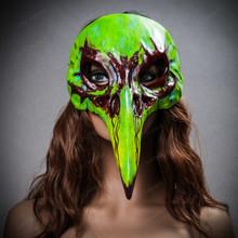 Raven Skull Bird Nose Alien Masquerade Mask Green with female Model
