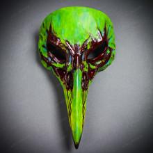 Raven Skull Bird Nose Alien Masquerade Mask Green