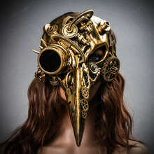 Raven Skull Bird Nose Steampunk Masquerade Mask Gold with female model