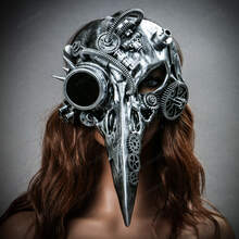 Raven Skull Bird Nose Steampunk Masquerade Mask Silver with female model