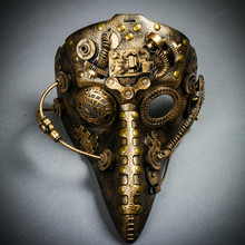 Long Nose Plague Doctor Steampunk Masquerade Mask - Gold