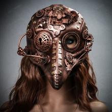 Long Nose Plague Doctor Steampunk Masquerade Mask - Copper Bronze
