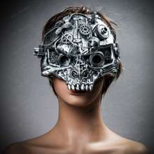 Ghost Skull Steampunk Masquerade Mask - Silver with female model
