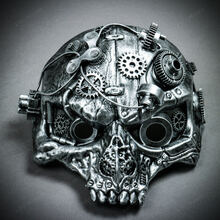 Ghost Skull Steampunk Masquerade Mask - Silver
