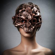 Ghost Skull Steampunk Masquerade Mask - Copper Bronze