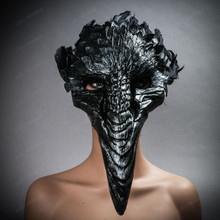 Plague Doctor Raven Long Nose Mask with Feather - Black