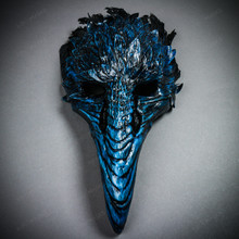 Plague Doctor Raven Long Nose Mask with Feather - Black Blue