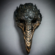 Plague Doctor Raven Long Nose Mask with Feather - Black Brown