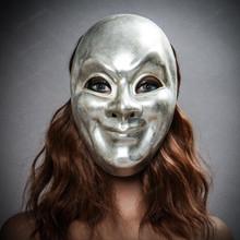 Venetian Volto Joker Full Face Mask - Silver